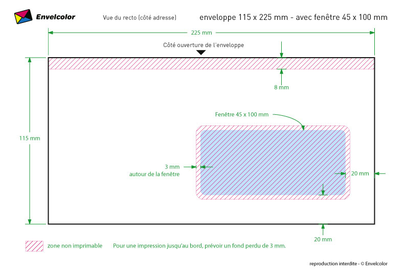 Enveloppe Imprimée Insertion Méca 115x225 80g Blanc Fen 45x100
